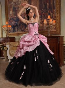 Rose Pink and Black Tulle Hand Made Flowers Sweet 16 Dress