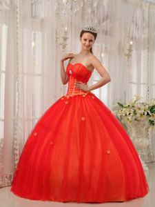 Tulle Red Appliques Sweetheart Quinceanera Dress Beaded