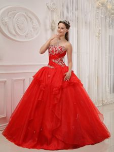 Ruffled Red Strapless Appliques Quinceanera Gown under 250