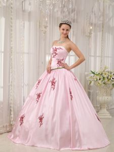 Pink Taffeta Dress For Quinceanera with Appliques Sashed
