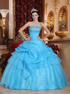 Pick-ups Beaded Aqua Blue Organza Quinceanera Gown on Sale