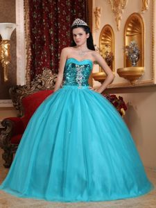 Discount Sweetheart Tulle Blue Sweet 15 Dress with Beading