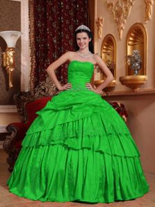 Beaded Green Taffeta Appliques Sweetheart Dress for Quince