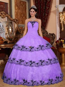 Lace Layers Lilac Organza Appliques Quinceanera Dresses
