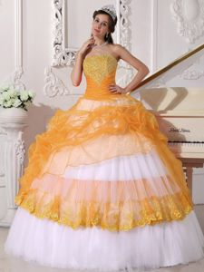 Orange and White Layered Quinceanera Gowns with Appliques