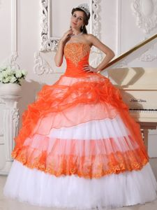 Orange Red and White Appliques Quinceanera Dress under 250
