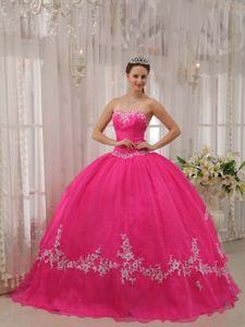 Sweetheart Organza Hot Pink Applique Dress for Quinceanera