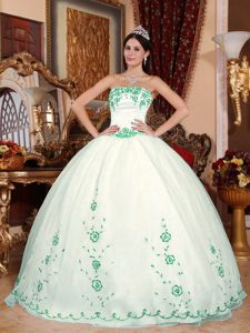 Embroidery White Organza Strapless Quinceanera Dress 2013