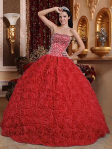 Rolling Flowers Overlay Red Quinceanera Gown with Beadings
