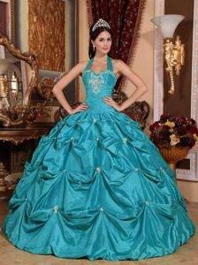 Taffeta Teal Appliques Quinceanera Dress with Halter Neck