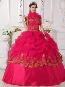 Halter High-neck Appliques Quinceanera Gown in Coral Red for Cape Town Film Fest 2013