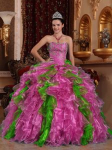 Strapless Beading Ruffled Sweet Sixteen Dresses in Fuchsia Floor-length