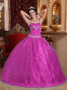Beaded Spaghetti Straps Sequined Quinceanera Dress in Fuchsia
