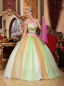 Multi-color Ruching Sweetheart Beading Puffy Sweet 16 Gowns