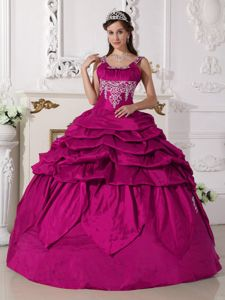 Fuchsia Beading Scoop Neckline Quinceanera Gown with Pick-ups