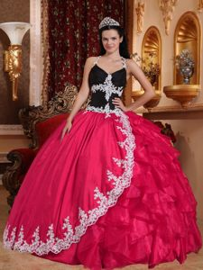 V-neck Appliques Halter Top Sweet 15 Dresses in Hot Pink and Black
