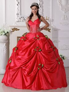 Red Spaghetti Straps Beading Pick-ups Quinceanera Dress with Hand Made Flowers