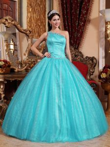 Turquoise Beaded Single Shoulder Dresses For 15 with Beading Belt