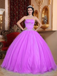 Lavender Strapless Ball Gown Sweet 15 Dresses with Beading