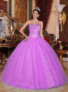 Sweetheart Beading and Ruching Quinceanera Dress in Lavender