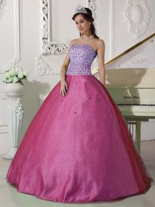 Beading Sweetheart Quinceanera Gown Dresses in Lavender and Fuchsia