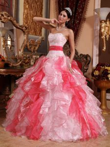 Pink Sweetheart Beading and Ruched Dresses For a Quince in Red