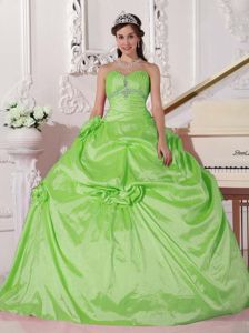 Pleated Sweetheart Beading Spring Green Quinceanera Dresses