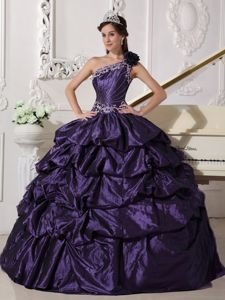 Dark Purple One Shoulder Appliques and Pick-ups Quinceanera Dress