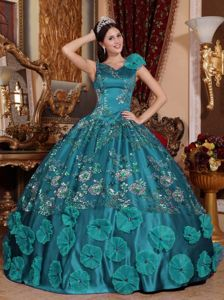 V-neck Beading and Embroidery Puffy Sweet 16 Gowns in Teal for Film Festival