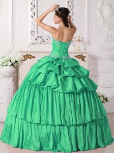 Green Strapless Ruched Detachable Quinceanera Dress with Appliques