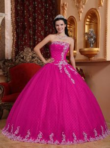 Strapless Ball Gown Appliques Quinceanera Dress in Fuchsia