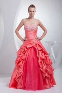 A-line Watermelon Red Pick-ups Appliques Quinceanera Dresses