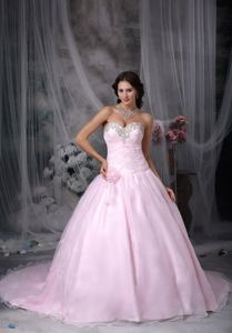 Sweetheart Chapel Train Appliques Puffy Sweet 16 Gowns in Pink