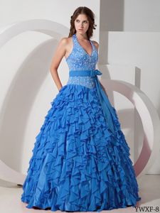 Halter Floor-length Embroidery Blue Sweet 15 Dresses with Ruffles