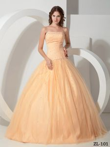 Beading Strapless Ball Gown Sweet 15 Dresses in Light Yellow