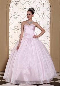 Baby Pink Sweetheart Quinceanera Dress with Beaded Sweetheart