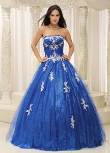 A-line Strapless Appliques Paillette Sweet Sixteen Dresses in Blue