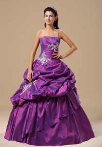 Appliques Pick-ups Purple Strapless Quinceanera Gown Dresses