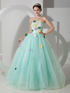 Apple Green A-line Strapless Sweet 15 Dresses with Hand Made Flowers