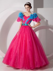 V-neck Hot Pink Quinceaneras Dress with Hand Made Flowers