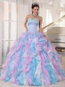 Multi-color Sweetheart Floor-length Appliques Quinceanera Dress