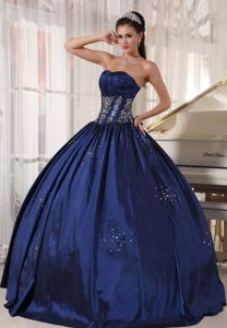 Strapless Embroidery and Beading Navy Blue Quinceanera Dress
