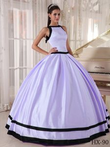 Lilac and Black Bateau Neckline Ball Gown Sweet Sixteen Dresses