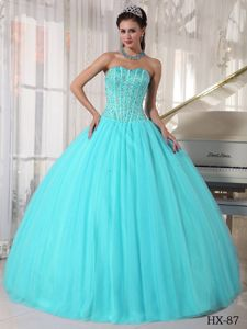Aqua Blue Ball Gown Sweetheart Beaded Quinceanera Dresses