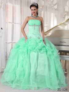 Apple Green Ruched Strapless Beading Quinceanera Dresses Gowns