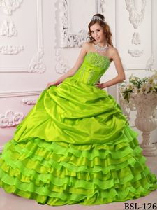 Yellow Green Strapless Beading Dresses For a Quinceanera with Ruffles