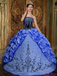 Blue Strapless Embroidery and Pick-ups Sweet Sixteen Dresses