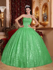 Strapless Green Sequin Ball Gown Sweetheart Quinceanera Dress