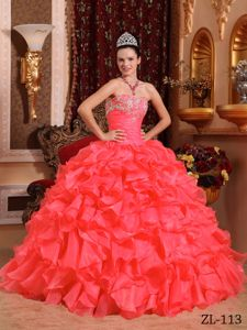 Coral Red Strapless Beading and Appliques Dresses For a Quince