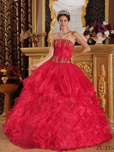 Coral Red Ball Gown Strapless Appliques Sweet Sixteen Dresses